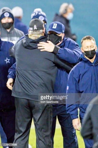 Philadelphia Eagles head coach Doug Pederson and Dallas Cowboys head coach Mike McCarthy hug after the game between the Dallas Cowboys and the...