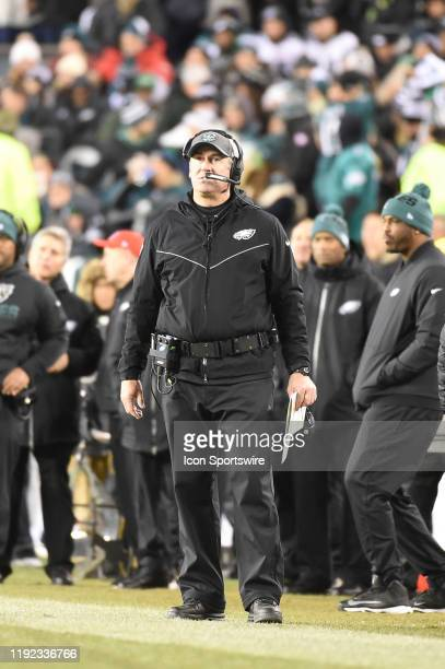 Philadelphia Eagles head coach Doug Pederson looks on during the Playoff game between the Seattle Seahawks and the Philadelphia Eagles on January 5...