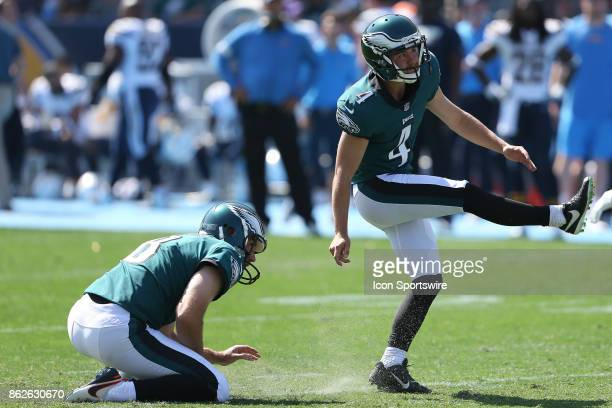 Philadelphia Eagles kicker Jake Elliott attempts a field goal during the Philadelphia Eagles game versus the Los Angeles Chargers on October 1 at...