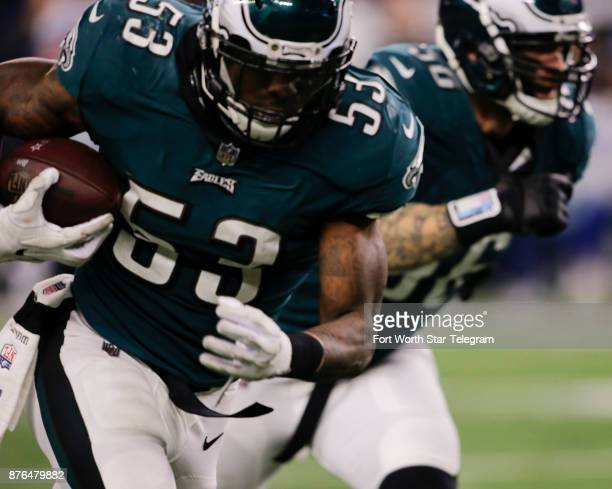 Philadelphia Eagles linebacker Nigel Bradham runs for a touchdown after recovering a fumble by Dallas Cowboys quarterback Dak Prescott in the fourth...