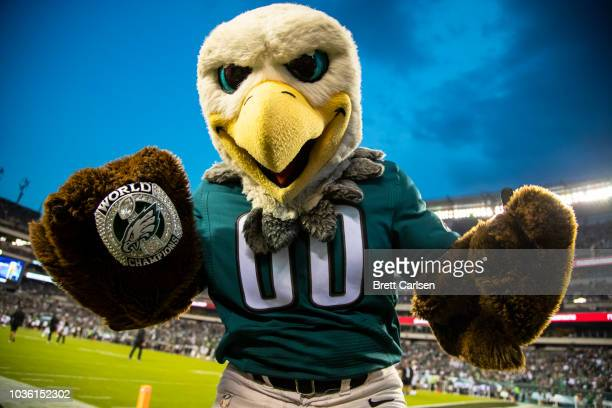 Philadelphia Eagles mascot shows off a world champions ring before the game against the Atlanta Falcons at Lincoln Financial Field on September 6...