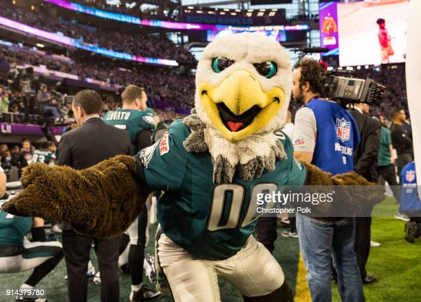 Philadelphia Eagles mascot Swoop at the Super Bowl LII Pregame show at US Bank Stadium on February 4 2018 in Minneapolis Minnesota