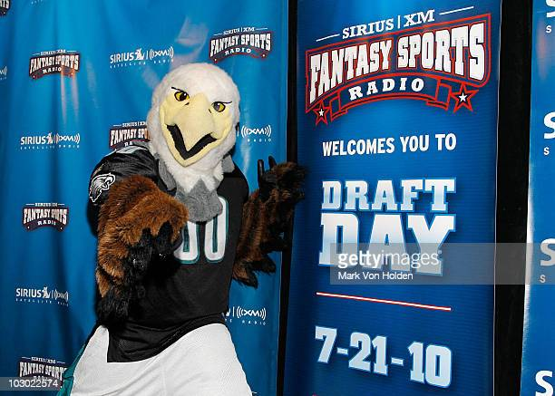 Philadelphia Eagles mascot Swoop attends the SIRIUS XM Radio celebrity fantasy football draft at Hard Rock Cafe Times Square on July 21 2010 in New...