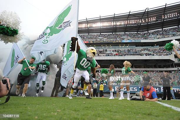 Philadelphia Eagles mascot Swoop leads the team onto the field during the NFL season opener game against the Green Bay Packers on September 12 2010...