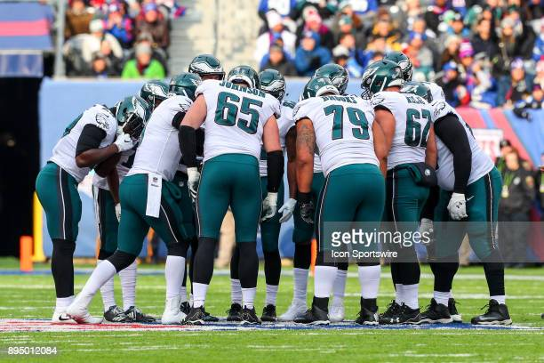 Philadelphia Eagles offense in the huddle during the National Football League game between the New York Giants and the Philadelphia Eagles on...
