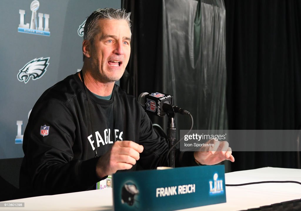 Philadelphia Eagles offensive coordinator Frank Reich answers questions during a Super Bowl LII Press Conference on January 31, 2018 at Mall of America in Bloomington, MN.