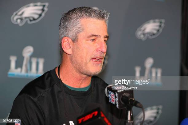 Philadelphia Eagles Offensive Coordinator Frank Reich answers questions during the Philadelphia Eagles Press Conference on January 31 at the Mall of...