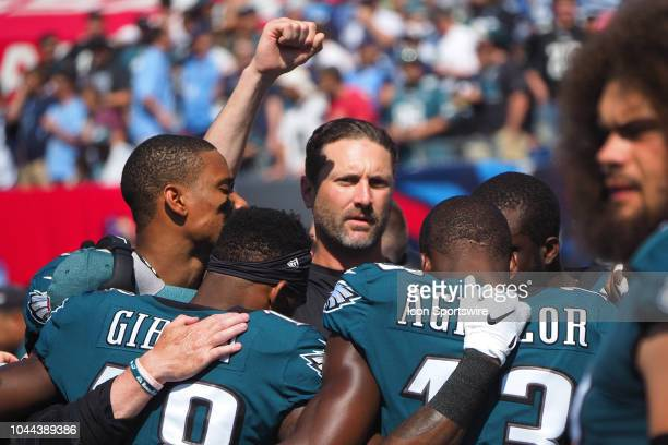 Philadelphia Eagles offensive coordinator Mike Groh is surrounded by players during the football game between the Philadelphia Eagles and the...