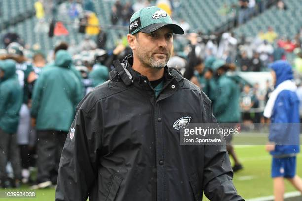Philadelphia Eagles offensive coordinator Mike Groh looks on during the game between the Indianapolis Colts and the Philadelphia Eagles on September...