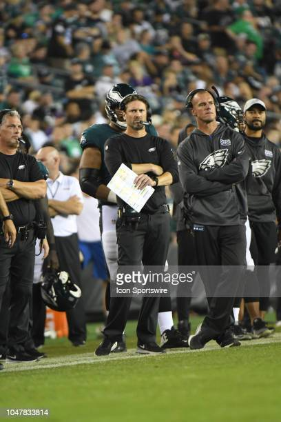 Philadelphia Eagles offensive coordinator Mike Groh looks on during the football game between the Minnesota Vikings and the Philadelphia Eagles on...