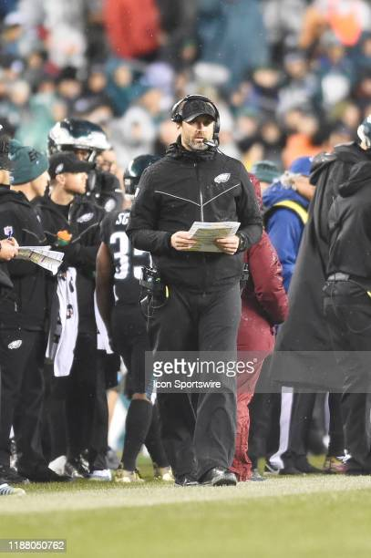 Philadelphia Eagles offensive Coordinator Mike Groh looks on during the game between the New York Giants and the Philadelphia Eagles on December 9...