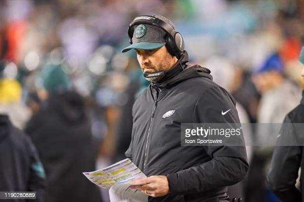 Philadelphia Eagles offensive Coordinator Mike Groh looks on during the game between the Dallas Cowboys and the Philadelphia Eagle on December 22 at...