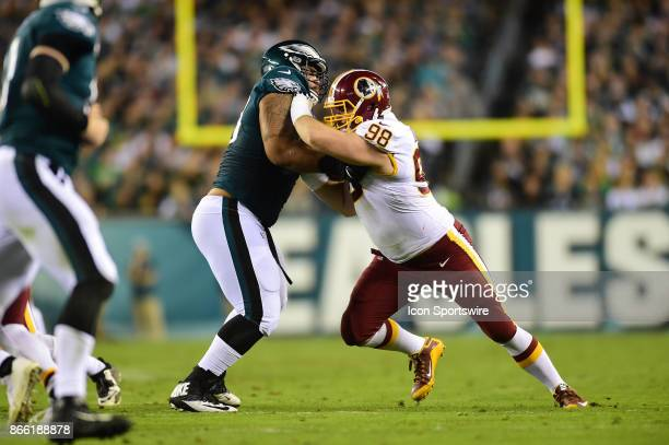 Philadelphia Eagles offensive guard Brandon Brooks and Washington Redskins defensive tackle Matthew Ioannidis battle for position during a NFL...