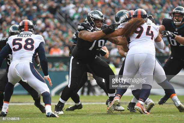 Philadelphia Eagles offensive guard Brandon Brooks blocks Denver Broncos nose tackle Domata Peko during a NFL football game between the Denver...