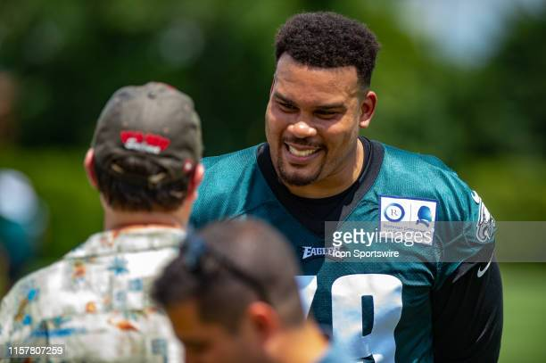 Philadelphia Eagles offensive guard Brandon Brooks is interviewed during Philadelphia Eagles Training Camp on July 25 2019 at the Novacare Complex in...