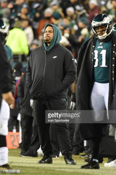 Philadelphia Eagles offensive guard Brandon Brooks looks on during the Playoff game between the Seattle Seahawks and the Philadelphia Eagles on...