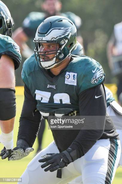 Philadelphia Eagles offensive guard Brandon Brooks warms up during the Eagles Training camp on August 1 2019 at the NovaCare Training Complex in...