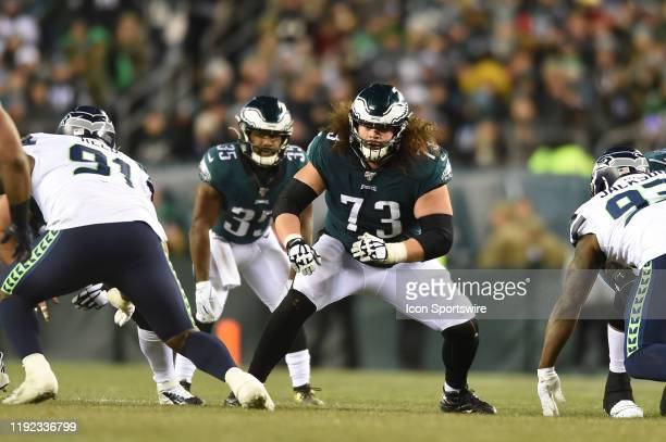 Philadelphia Eagles offensive guard Isaac Seumalo sets up to block during the Playoff game between the Seattle Seahawks and the Philadelphia Eagles...