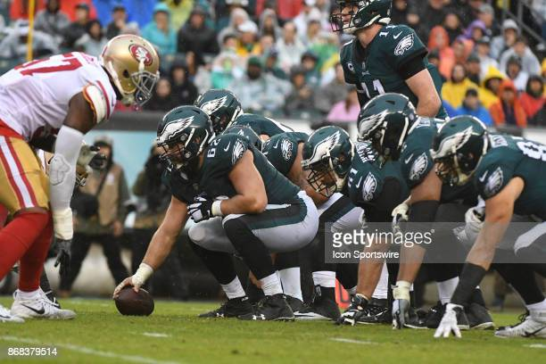 Philadelphia Eagles offensive line waits for the snap during a NFL football game between the San Fransisco 49ers and the Philadelphia Eagles on...