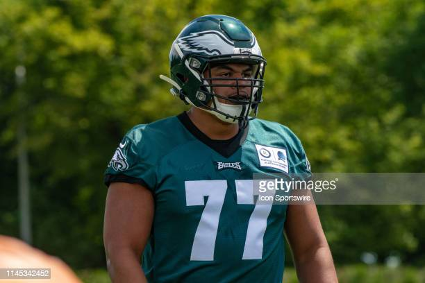 Philadelphia Eagles offensive tackle Andre Dillard during offensive line drills during the Philadelphia Eagles OTA on May 21 2019 at the Novacare...