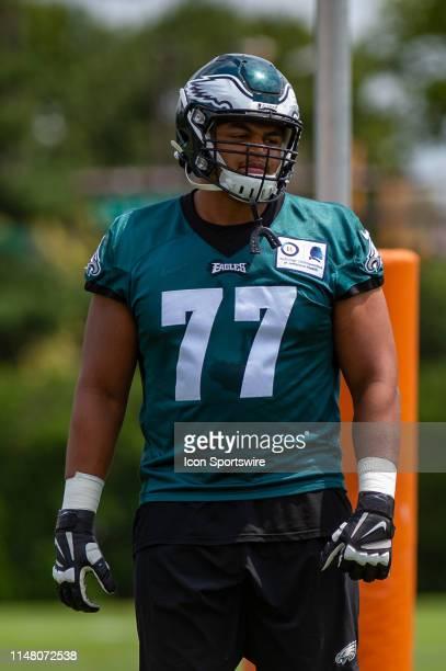 Philadelphia Eagles offensive tackle Andre Dillard during the Philadelphia Eagles OTA on June 3 2019 at the Novacare Training Complex in Philadelphia...
