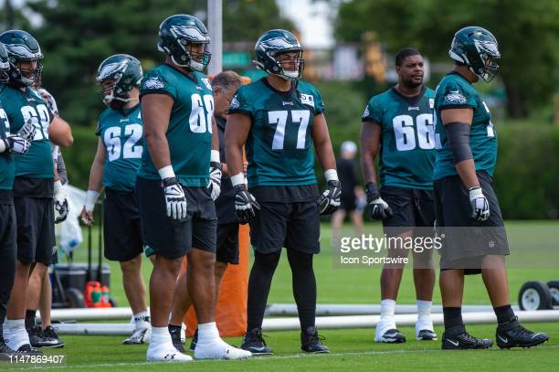 Philadelphia Eagles offensive tackle Andre Dillard looks on during the Philadelphia Eagles OTA on June 3 2019 at the Novacare Training Complex in...