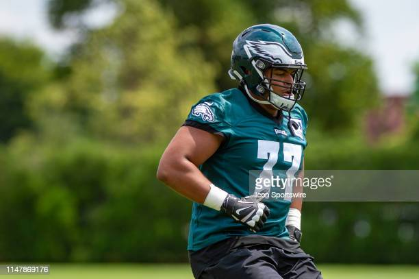 Philadelphia Eagles offensive tackle Andre Dillard warms up during the Philadelphia Eagles OTA on June 3 2019 at the Novacare Training Complex in...