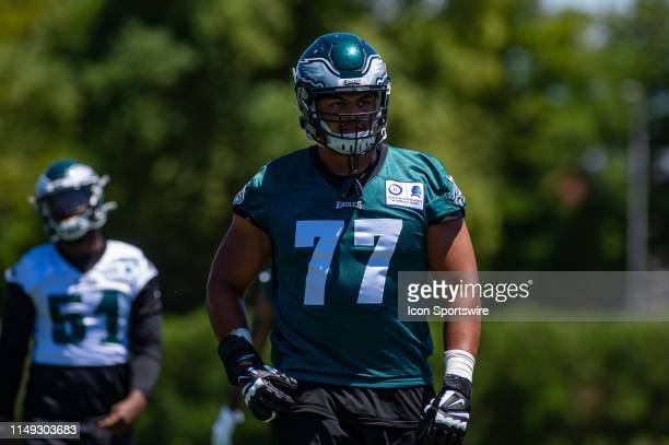 Philadelphia Eagles offensive tackle Andre Dillard warms up during the first mandatory day of Philadelphia Eagles Minicamp on June 11 2019 at the...