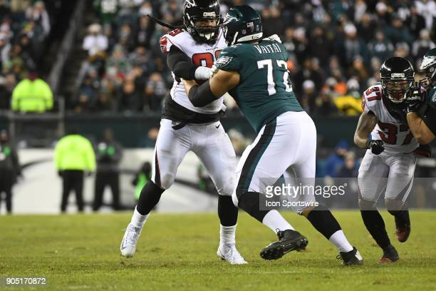Philadelphia Eagles offensive tackle Halapoulivaati Vaitai blocks Atlanta Falcons defensive end Adrian Clayborn during the NFC Divisional Playoff...