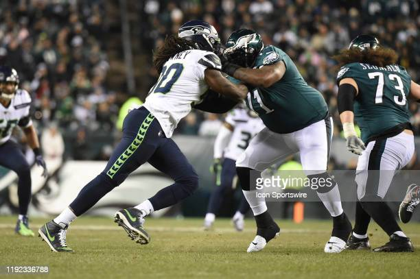 Philadelphia Eagles offensive tackle Jason Peters blocks Seattle Seahawks defensive end Jadeveon Clowney during the Playoff game between the Seattle...