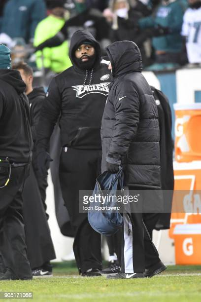 Philadelphia Eagles offensive tackle Jason Peters looks on during the NFC Divisional Playoff game between the Philadelphia Eagles and the Atlanta...