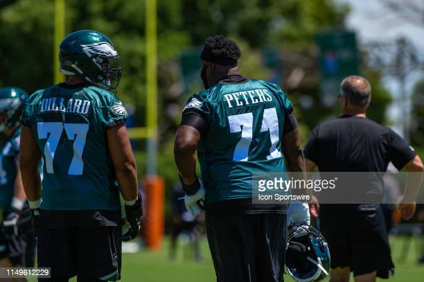 Philadelphia Eagles offensive tackle Jason Peters mentors offensive tackle Andre Dillard during the first mandatory day of Philadelphia Eagles...