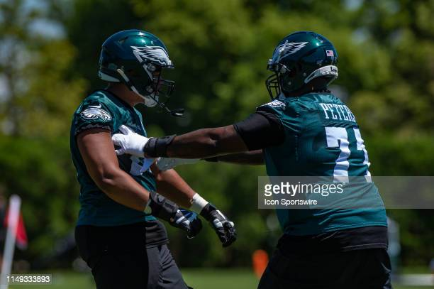 Philadelphia Eagles offensive tackle Jason Peters works with offensive tackle Andre Dillard during the first mandatory day of Philadelphia Eagles...
