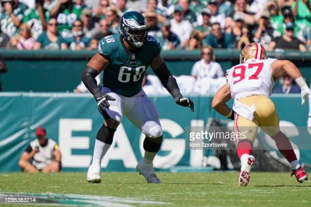 Philadelphia Eagles offensive tackle Jordan Mailata blocks San Francisco 49ers defensive end Nick Bosa during the game between the Philadelphia...
