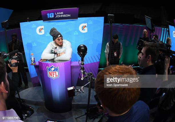 Philadelphia Eagles Offensive Tackle Lane Johnson answers questions during Super Bowl LII Opening Night on January 29 2018 at Xcel Energy Center in...