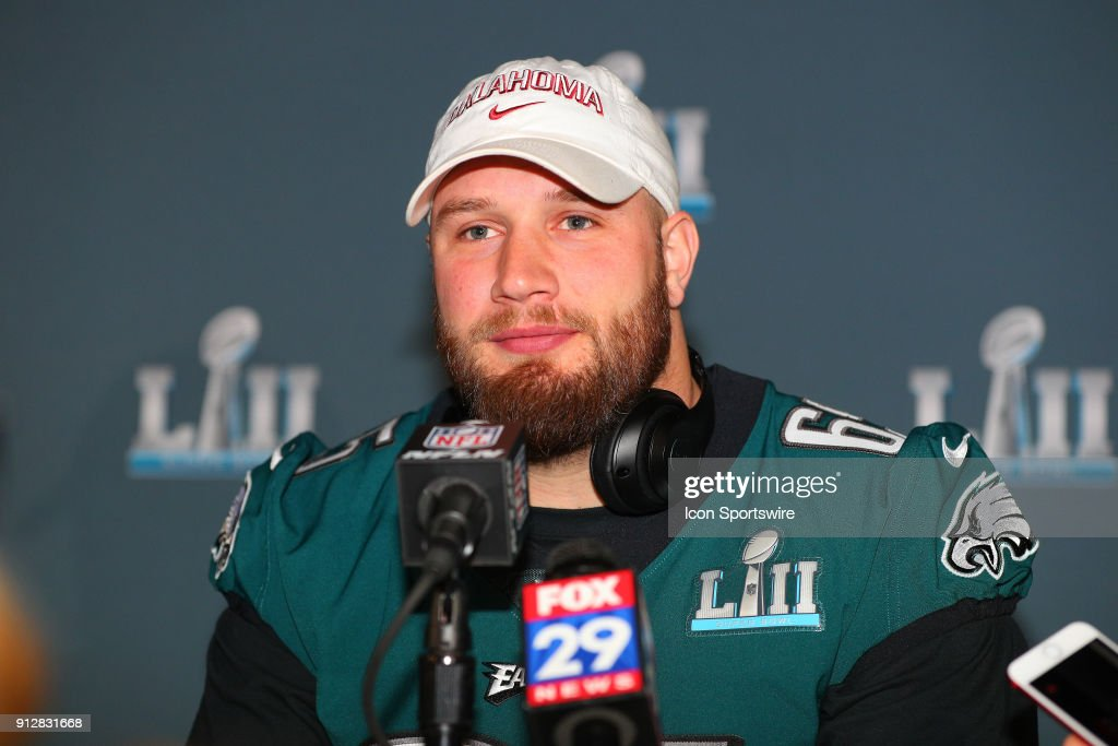 Philadelphia Eagles offensive tackle Lane Johnson (65) answers questions during the Philadelphia Eagles Press Conference on January 31, 2018, at the Mall of America in Bloomington, MN.