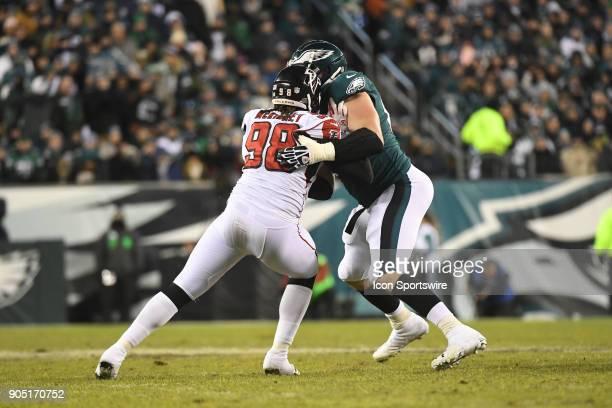 Philadelphia Eagles offensive tackle Lane Johnson blocks Atlanta Falcons defensive end Takkarist McKinley during the NFC Divisional Playoff game...
