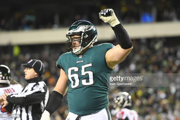 Philadelphia Eagles offensive tackle Lane Johnson reacts after a first down during the NFC Divisional Playoff game between the Philadelphia Eagles...
