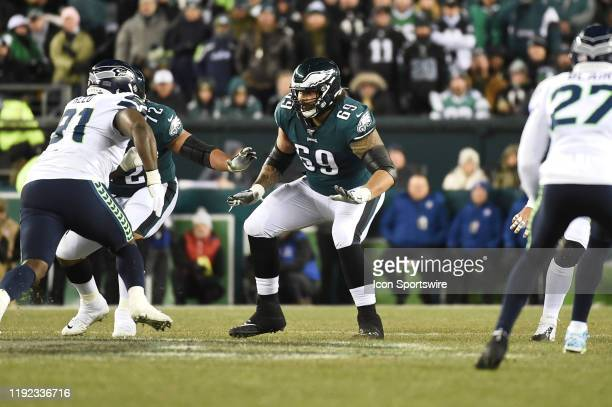 Philadelphia Eagles offensive tackle Matt Pryor sets up to block during the Playoff game between the Seattle Seahawks and the Philadelphia Eagles on...