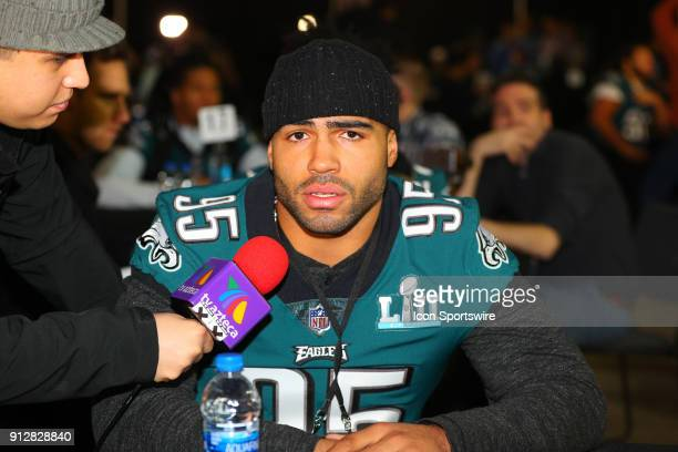 Philadelphia Eagles outside linebacker Mychal Kendricks answers questions during the Philadelphia Eagles Press Conference on January 31 at the Mall...