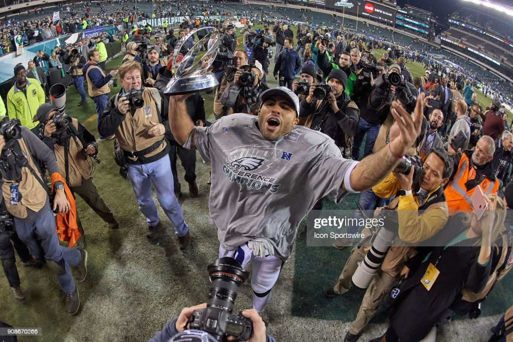 Philadelphia Eagles outside linebacker Mychal Kendricks (95) celebrates with fans and teammates as he holds the George Halas Trophy after the NFC Championship Game between the Minnesota Vikings and the Philadelphia Eagles on January 21, 2018 at the Lincoln Financial Field in Philadelphia, PA. The Philadelphia Eagles defeated the Minnesota Vikings by the score of 38-7.