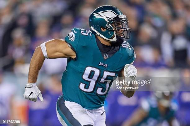 Philadelphia Eagles outside linebacker Mychal Kendricks runs in action during the NFC Championship Game between the Minnesota Vikings and the...