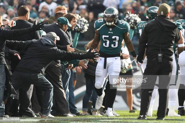 Philadelphia Eagles outside linebacker Nigel Bradham shakes hands with fans during a NFL football game between the Chicago Bears and the Philadelphia...