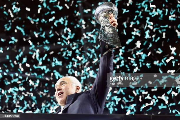 Philadelphia Eagles owner Jeffrey Lurie celebrates with the Vince Lombardi Trophy after the Eagles defeated the New England Patriots 41-33 in Super...