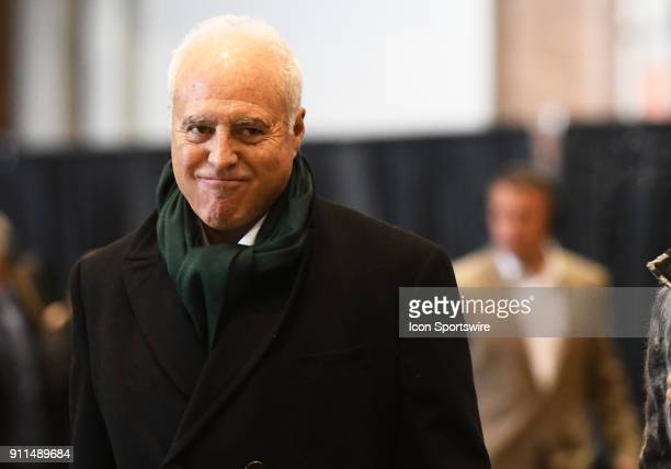 Philadelphia Eagles Owner Jeffrey Lurie gives a smirk as he arrives for Super Bowl LII on January 28 2018 at the MinneapolisSt Paul International...