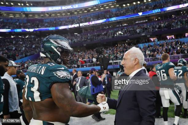 Philadelphia Eagles owner Jeffrey Lurie greets Tim Jernigan of the Philadelphia Eagles prior to the game against the New England Patriots in Super...