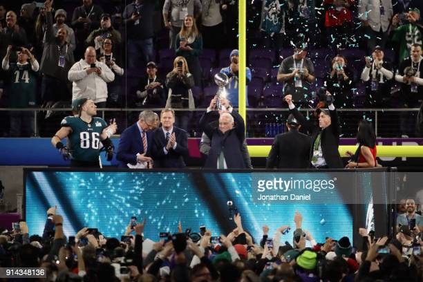 Philadelphia Eagles owner Jeffrey Lurie holds up the Vince Lombardi Trophy after the Eagles defeated the New England Patriots in Super Bowl LII 41-33...