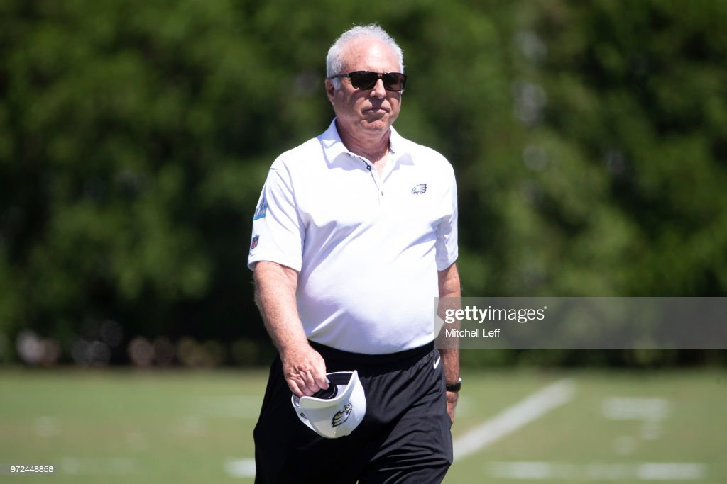 Philadelphia Eagles owner Jeffrey Lurie walks off the field after Eagles minicamp at the NovaCare Complex on June 12, 2018 in Philadelphia, Pennsylvania.