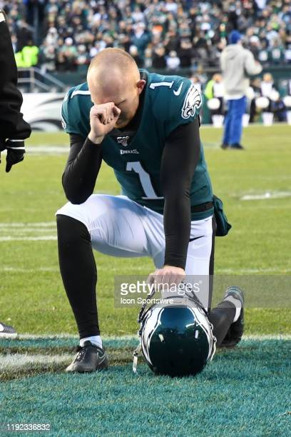 Philadelphia Eagles punter Cameron Johnston takes a knee during the Playoff game between the Seattle Seahawks and the Philadelphia Eagles on January...