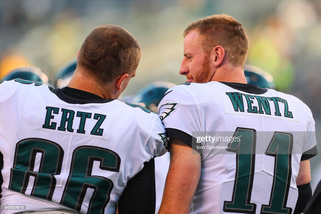 Philadelphia Eagles quarterback Carson Wentz (11) and Philadelphia Eagles tight end Zach Ertz (86) talk prior to the National Football League preseason game between the New York Jets and the Philadelphia Eagles on August 31, 2017 at MetLife Stadium in East Rutherford, NJ.